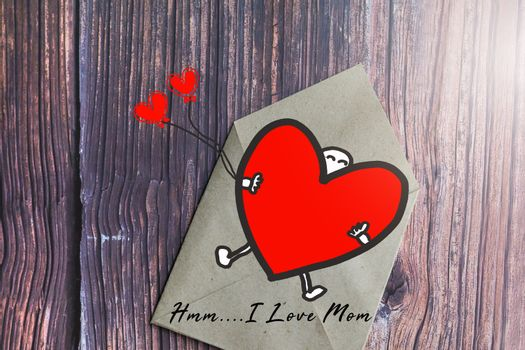 Mother's day gift card with word I Love Mom, greeting card