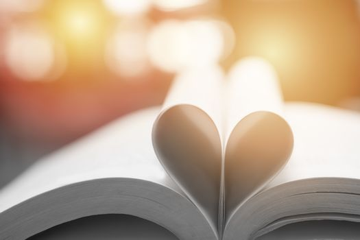 Abstract book in heart shape, wisdom and education concept, worl