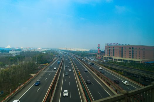SHANGHAI, CHINA APRIL 2017 : the highway of suburb Shanghai in c