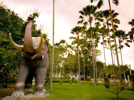 the big elephant statue at Wat Yannasangwararam, Pattaya Chonbur