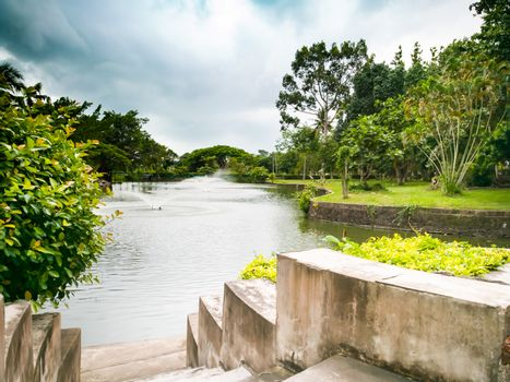 the lake with fountain view at Wat Yannasangwararam, Pattaya Cho