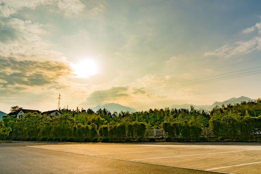 landscape of sunbeam at the parking lot, sunlight landscape back