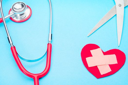 healthcare and medicine stethoscope and red heart symbol healthy