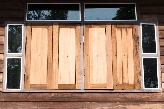 old wooden window of Thailand house rural style
