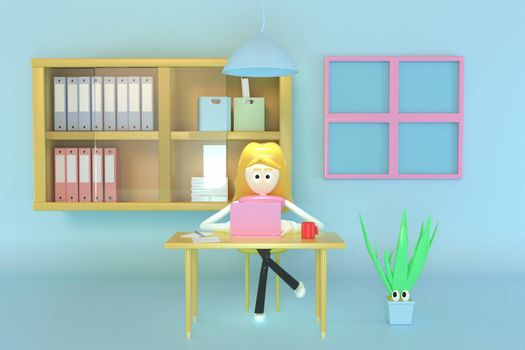 A woman sitting and working at home using a notebook computer. 3d illustrator