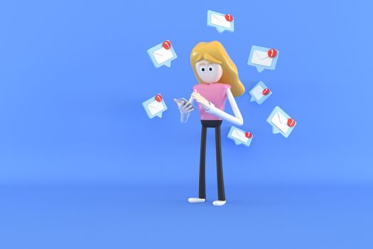 A woman is checking email via mobile phone. 3d illustrator