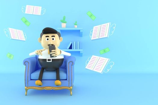A man working on a sofa with a mobile phone.  3d illustrator.