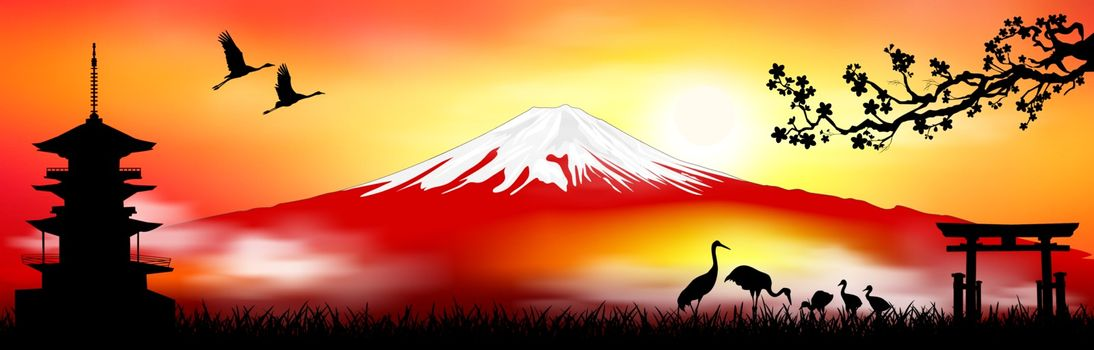 Mount Fuji. Japanese landscape with a pagoda, a gate, with Japanese cranes and sakura. Mount Fuji silhouette at sunset.