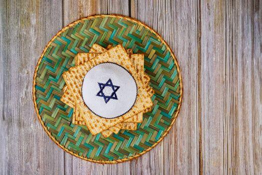 Jewish holiday pesah celebration passover bread in the kippa