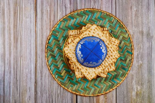 Matzoh jewish unleavened bread passover jewish holiday in the kippa