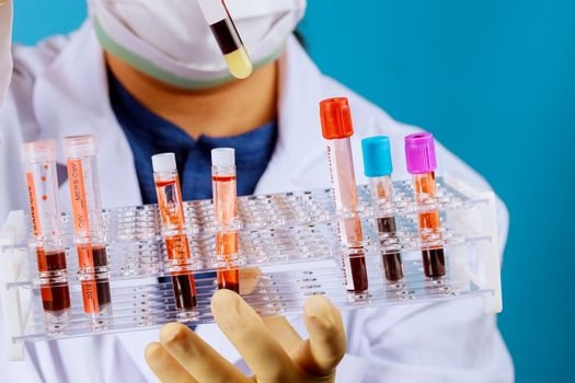 Covid 19 outbreak in Doctor with a blood test tube sample to check coronavirus