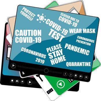 Against Coronavirus icon. Safe Isolation. COVID-19 icon. Novel coronavirus. COVID 19 Symptoms. Coronavirus Test. Media player set