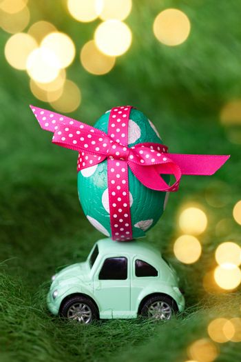 Little toy car with an easter egg