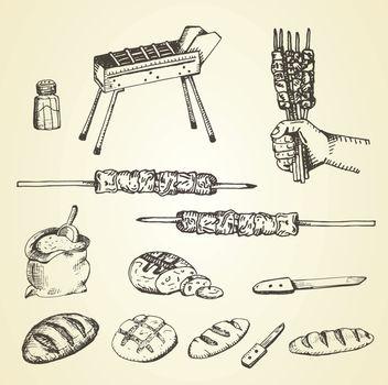 arrosticini set hand drawnbread, knife, salt, hand