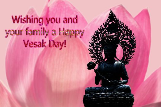 Congratulations to the Buddhist celebration of Buddha's birthday, called Vesak Day, Buddhist lent, the worship of Buddha Purnima. Text on the background of a pink Lotus flower and the silhouette of a Buddha statue