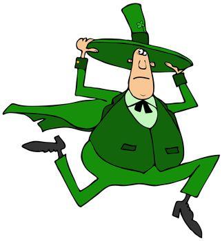Irish leprechaun holding his hat while running