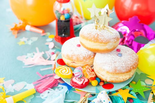 Delicious donuts with lots of sugar