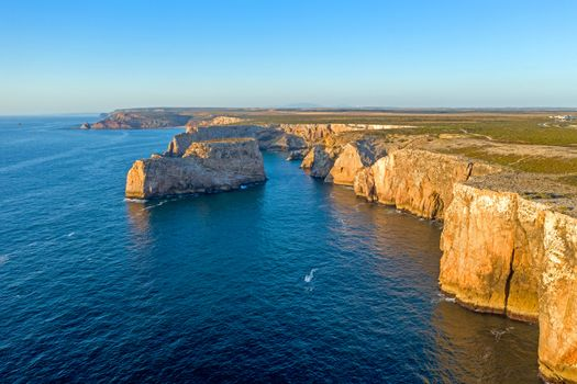 Aerial from rock formations at the southwest point in Portugal
