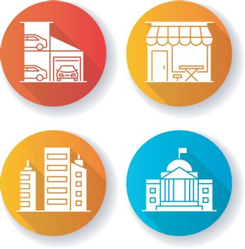Industrial buildings flat design long shadow glyph icons set
