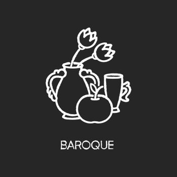 Baroque chalk white icon on black background