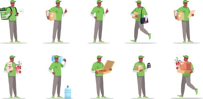 Postal and supply delivery flat vector illustrations set