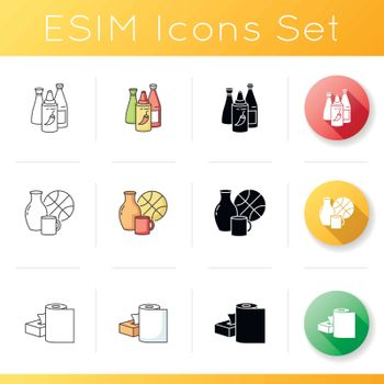 Retail products icons set