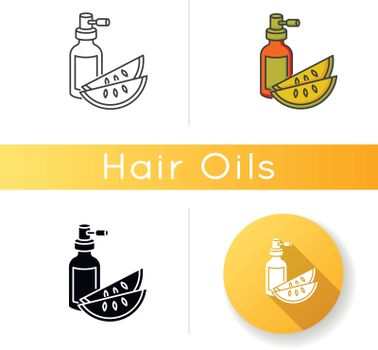 Kalahari melon seed oil icon. Dermatology product for haircare. Reparative essence. Organic eco cosmetic for hair treatment. Linear black and RGB color styles. Isolated vector illustrations.