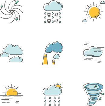 Meteorology RGB color icons set