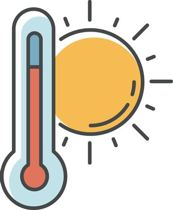 Hot weather RGB color icon. Summer heat, seasonal forecasting, meteorology science. Air temperature prediction. Thermometer with sun isolated vector illustration