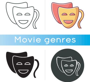 Comedy icon. Linear black and RGB color styles. Funny movie, humorous film, classic theater. Popular filmmaking genre, entertaining cinematography. Comedy mask isolated vector illustrations.