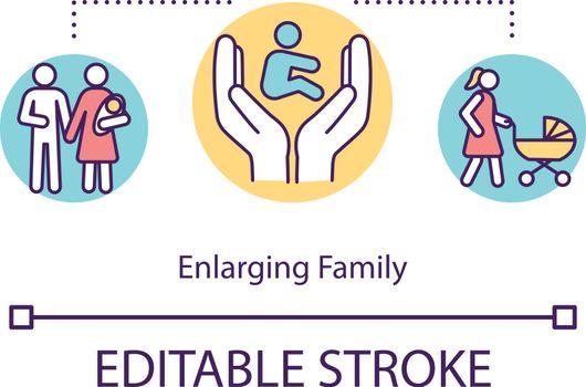 Enlarging family concept icon
