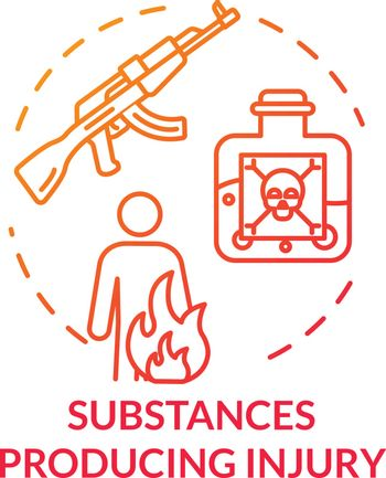 Different substances producing injury concept icon. Fatal poisoning, fire effect, gunshot wound and body burn thin line illustration. Vector isolated outline RGB color drawing.