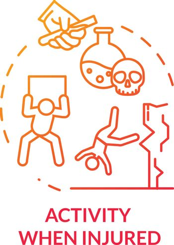 Activity when injured, dangerous work and sport concept icon. Unsafe working conditions, suicide, adversity thin line illustration. Vector isolated outline RGB color drawing.