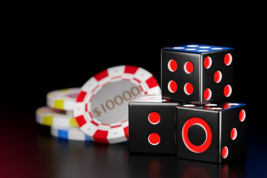 Cube black dice stack in the dark background. Casino chips are used to represent money in the gambling craps game. Ideas for luck and risk in the betting business. 3D illustrator rendering.