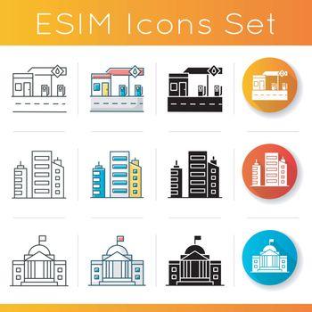 Industrial buildings icons set