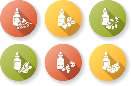 Hair oils flat design long shadow glyph icons set. Jojoba ingredient for cosmetic product. Kalahari melon extract. Dermatology treatment with natural herbal essence. Silhouette RGB color illustration.