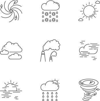Meteorology pixel perfect linear icons set