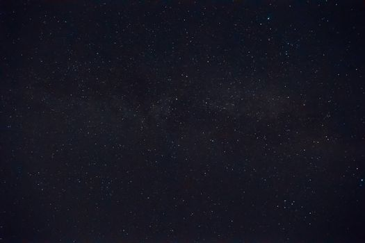 Long exposure night photo. A lot of stars with a lot of constellations. Night landscape with soft noise effect.