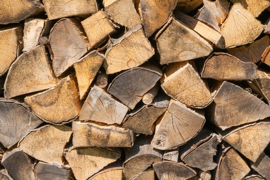 Background, close up image of an firewood wall