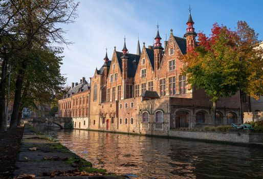 Early morning mood an the channels of Bruges, Belgium