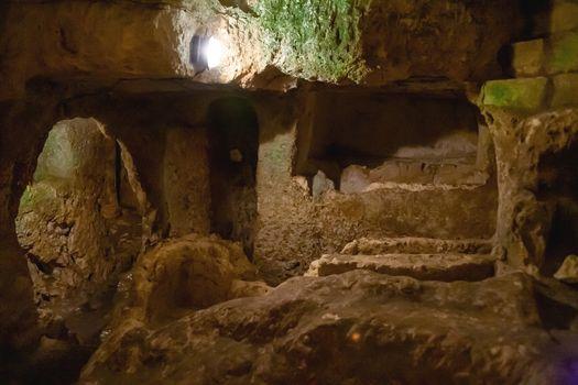 Ancient christian cemetery catacombs of Saint Paul. Famous historical landmark in Rabat, Malta.
