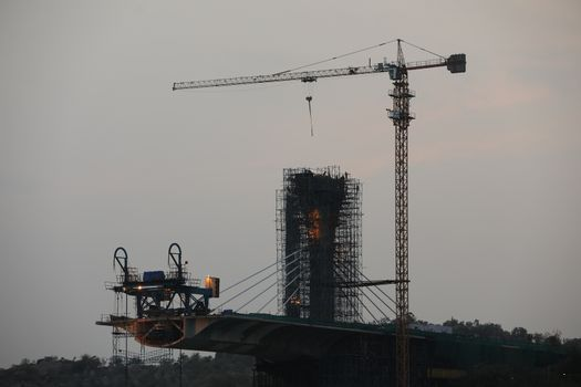 Crane working at Construction site