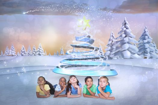 Cute kids thinking against snowy landscape with fir trees