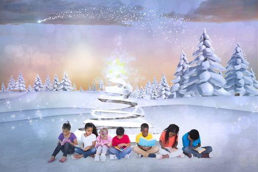 Composite image of cute children against snowy landscape with fir trees