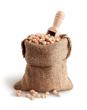 Sack with chickpeas and scoop