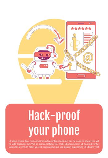 Bad bot poster flat silhouette vector template. Personal information stealing brochure, booklet one page concept design with cartoon characters. Hack proof your phone flyer, leaflet with text space