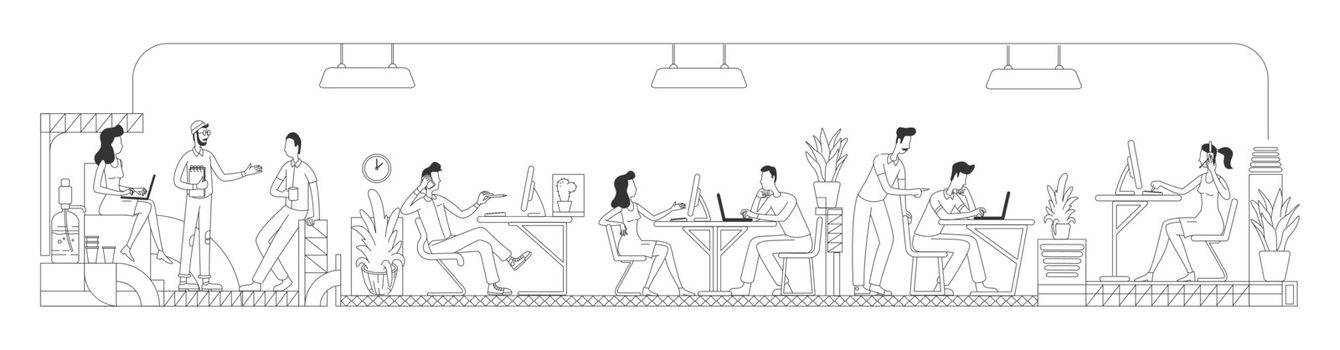 Employees working in creative office thin line vector illustration. Workers at business center outline characters on white background. Modern workspace with computers simple style drawing