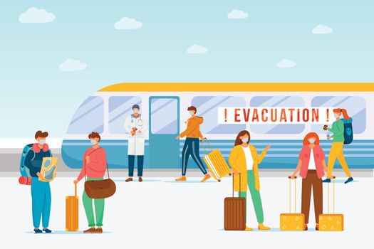 Emergency train evacuation flat color vector illustration. Virus spread prevention. Contamination area lockdown during epidemic. Quarantine 2D cartoon characters with cityscape on background
