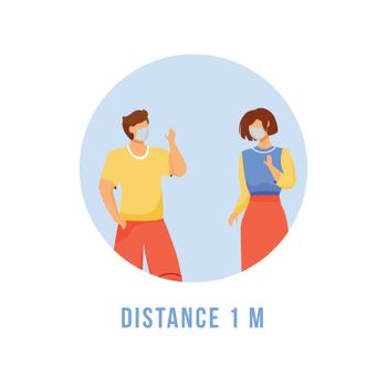 Keep distance 1 meter flat detailed icon. Self protection from disease. Social distancing. Quarantine for virus spread sticker, clipart with 2D characters. Isolated complex cartoon illustration