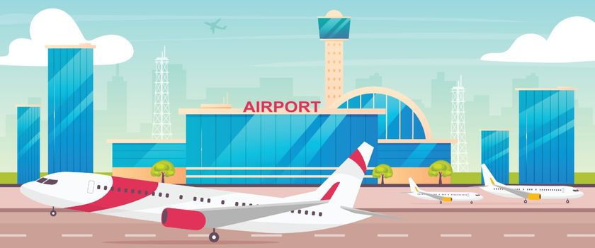 Airport flat color vector illustration. Runway with departing plane 2D cartoon landscape with control tower on background. International airline transportation business. Civil aviation industry